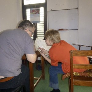 Blair and Will hard at work in Nepalese Language Classes
